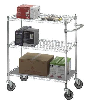 Adjustable Utility Cart w/Solid Top or Bottom Shelf